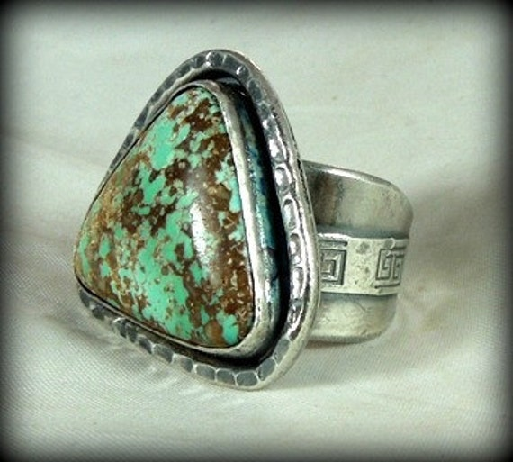 THIRTY FIVE PERCENT Nevada Turquoise Cocktail  Ring-  sterling silver Statement ring,  chunky rustic stone ring