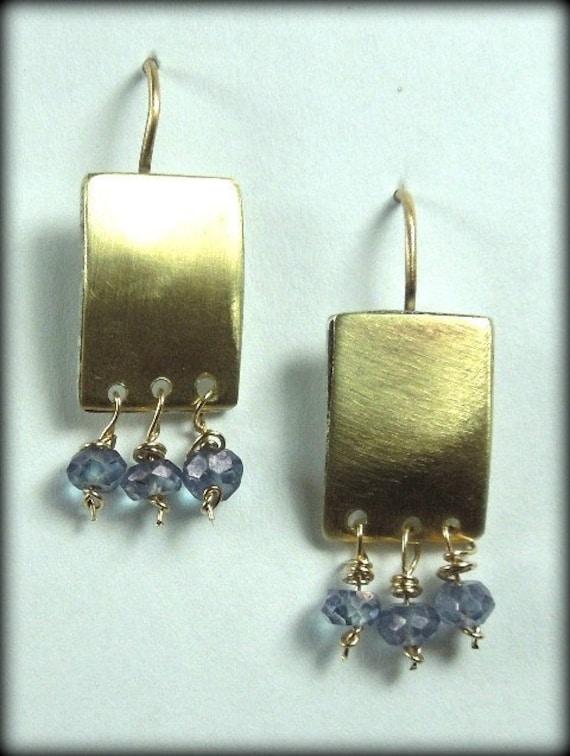 14 karat gold and tanzanite earrings