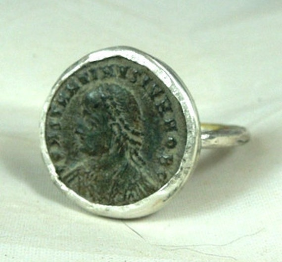 Ancient Roman Coin Silver Ring ,genuine antique and sterling silver