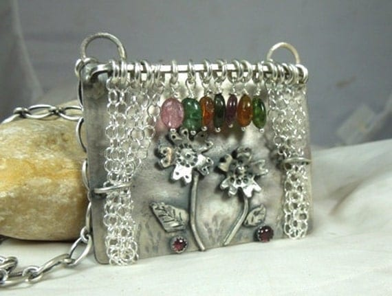 FORTY PERCENT SALE Curtains please sterling silver aNd gemstone sculptural art pendant mecklace