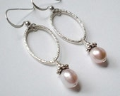 FREE SHIP Domestic only - Powder Pink Pearl Sterling hoop earrings