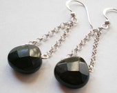 Black Onyx  Sterling chain earrings