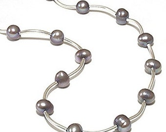 Peacock Gray Freshwater Pearl Antique Sterling Silver metal tube beaded necklace and earring set