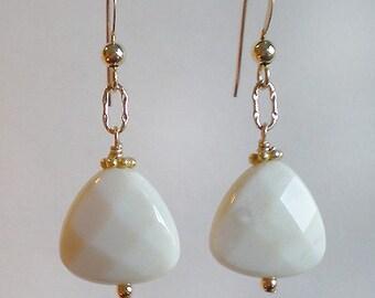 Off White Oregon Opal teardrop Gold filled dangle earrings
