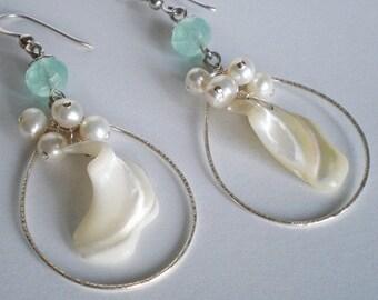 Sea Blue Chalcedony White Pearl Shell cluster Sterling Silver hoop drop earrings