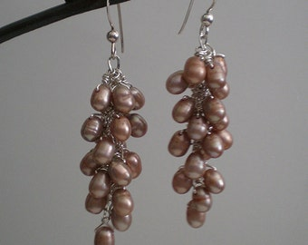 Brown Mauve Freshwater Pearl Clusters Sterling Silver dangle earrings