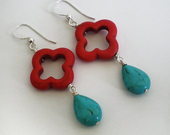 Red Clover and Blue teardrop Turquoise Sterling Silver dangle earrings