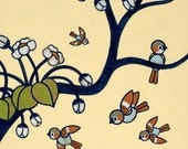 Flying Sparrows and Tree 8x10 print - Birdies No 5
