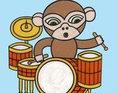 Drummer Monkey 8x10 Art Print