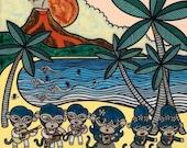Hawaiian Hula Monkeys 8x10 Art Print