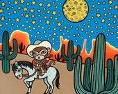 Cowboy Monkey 8x10 Art Print - Home is the Saddle