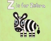 Alphabet Letter Z is for Zebra 8x10 Art Print