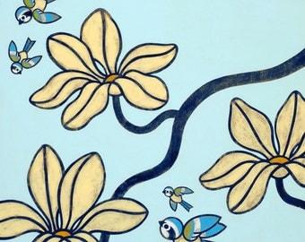 Birds and Blossoms 8x10 Art Print - No 4
