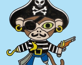 Pirate Monkey 8x10 Art Print