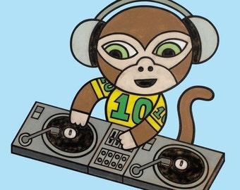 DJ Monkey 8x10 Art Print