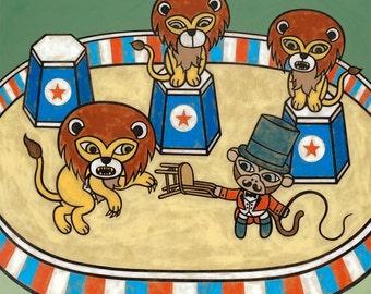 Circus Monkey Lion Tamer 8x10 Art Print