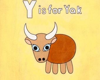 Alphabet Y is for Yak 8x10 Art Print