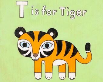Alphabet Letter Nursery Decor Tiger 8x10 Art Print