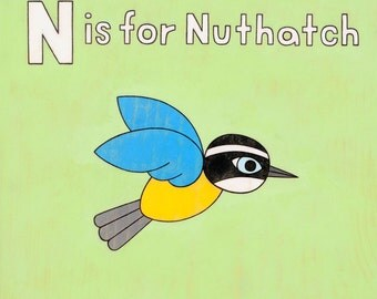 N is for Nuthatch Alphabet Letter 8x10 Art Print