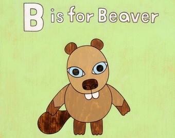 Beaver Alphabet 8x10 Art Print