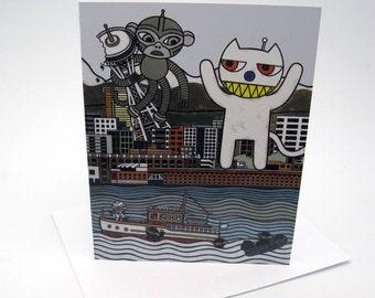 Monkey vs. Cat Seattle Card