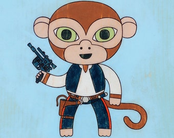 Han Solo Monkey Art Print