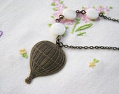 Float Away - Hot Air Balloon Brass Necklace