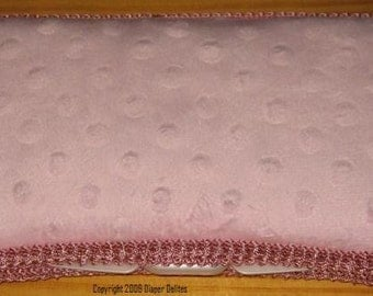 Pink MINKY dot boutique travel wipe case BABY SHOWER gift