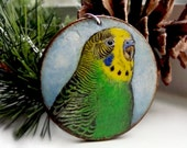Parakeet Necklace Bird Pendant Handpainted Sky Wood Disc Reversible Sterling Silver Chain 18 inch
