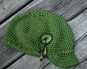 Free Shipping - Summer Cap - All Cotton - Womens Hat Accessories Fashion Winter Fashion - Beads - Ready to ship - Green