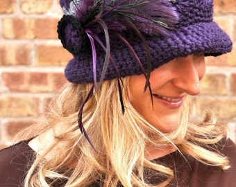 Hat - Purple & Grey Feathered Hat
