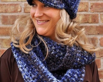 Infinity Scarf and Hat - Blue Rivers