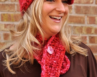 Newsboy Hat and Neckwarmer - Red