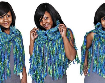 Fringed Shawl -Blue Aqua - Client Appreciation Sale