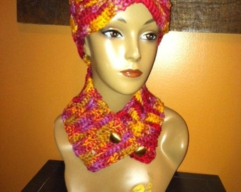 Customer Appreciation SALE - Red-Pink-Gold Newsboy Cap with Match Neckwarmer - Colorful - CLEARANCE SALE