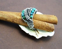Woven Ethnic Ring - Tataja (turquoise and sterling silver)
