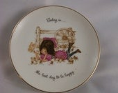 vintage happy plate girl and butterfly