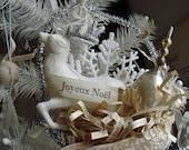 Joyeux Noel Christmas Cone Ornament Reindeer