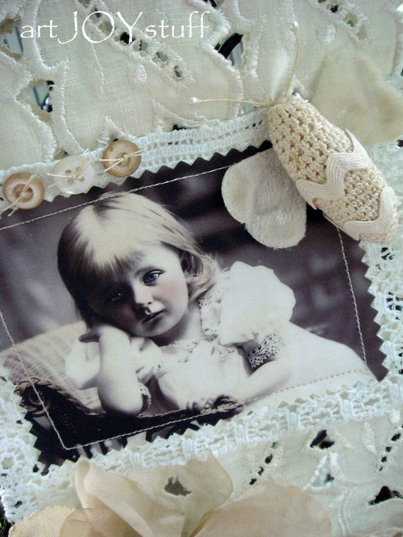 as seen in SEW SOMERSET Summer 2014 - Altered Art Wall Hanging - fabric and lace - all vintage - no 180