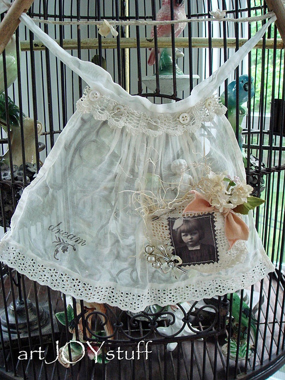 Altered Art Wall Hanging - vintage doll apron on clothes line -  fabric and lace - all vintage - no 181