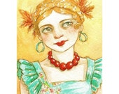 "Girl Portrait Braids Colorful ACEO Print ""Turquoise and Gold""  by Amy Abshier Reyes 11/30"