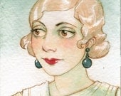 "ACEO Girl Blonde Portrait Art Deco ""Winterglow"" Limited Edition Print by Amy Abshier Reyes 19/30"