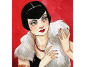 "ACEO Print Girl Woman Art Deco Flapper ""Vamping It Up"" by Amy Abshier Reyes 24/60"