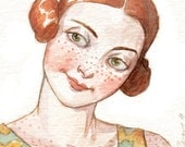 "Woman Portrait Face Redhead Freckles ACEO ""Myrna the Impish""  Limited Edition Print by Amy Abshier Reyes 11/50"