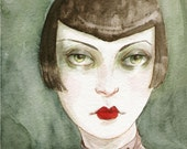 "Art Deco Flapper Girl Vamp ACEO ""The Shadowy Girl"" Limited Edition Print by Amy Abshier Reyes 8/30"