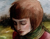 Red Sweater Green Scarf -- ACEO Limited Edition Print by Amy Abshier Reyes 14/30