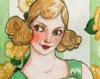 "Art Deco Woman ACEO ""She Smiled 'til She Thought Her Face Would Crack"" Limited Edition Print by Amy Abshier Reyes 19/30"