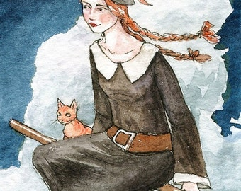 """Witch Halloween Broom Cat ACEO """"Off to Witch School"""" Limited Edition Print by Amy Abshier Reyes 14/30"""