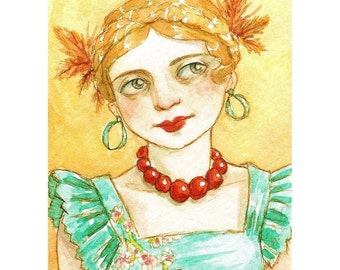 """Girl Portrait Braids Colorful ACEO Print """"Turquoise and Gold""""  by Amy Abshier Reyes 11/30"""