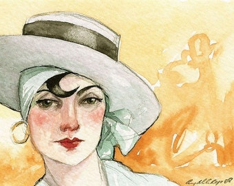 """Woman Hat ACEO Portrait """"Medusa Kept Her Snakes Under Her Hat"""" Limited Edition Print by Amy Abshier Reyes 21/30"""